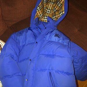 Blue Burberry coat, transformers into a vest.